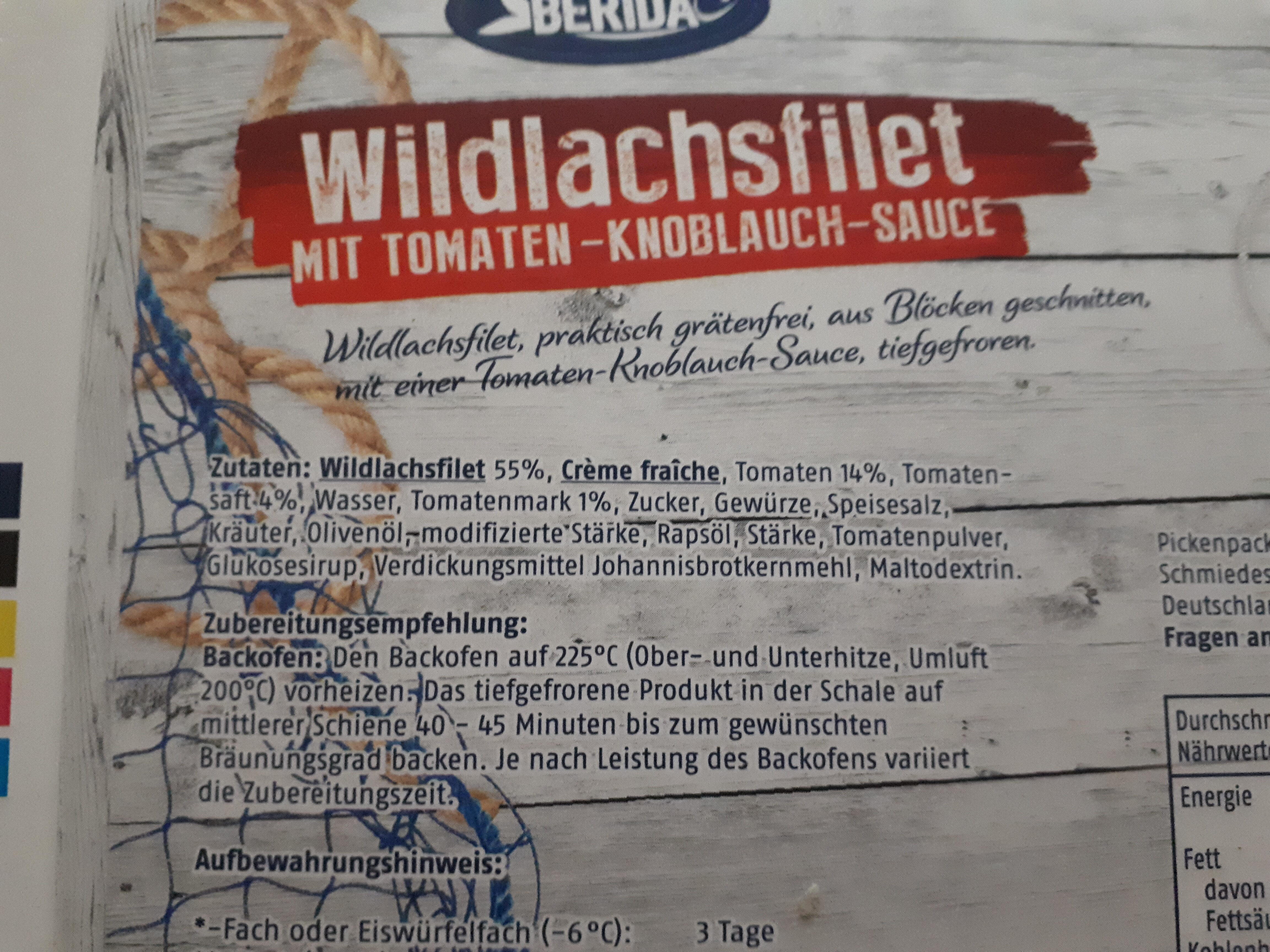 Wildlachsfilet mit Tomaten Knoblauch Sauce - Ingredients - de