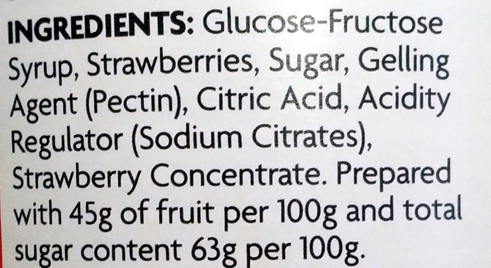 Strawberry Jam - Ingredients