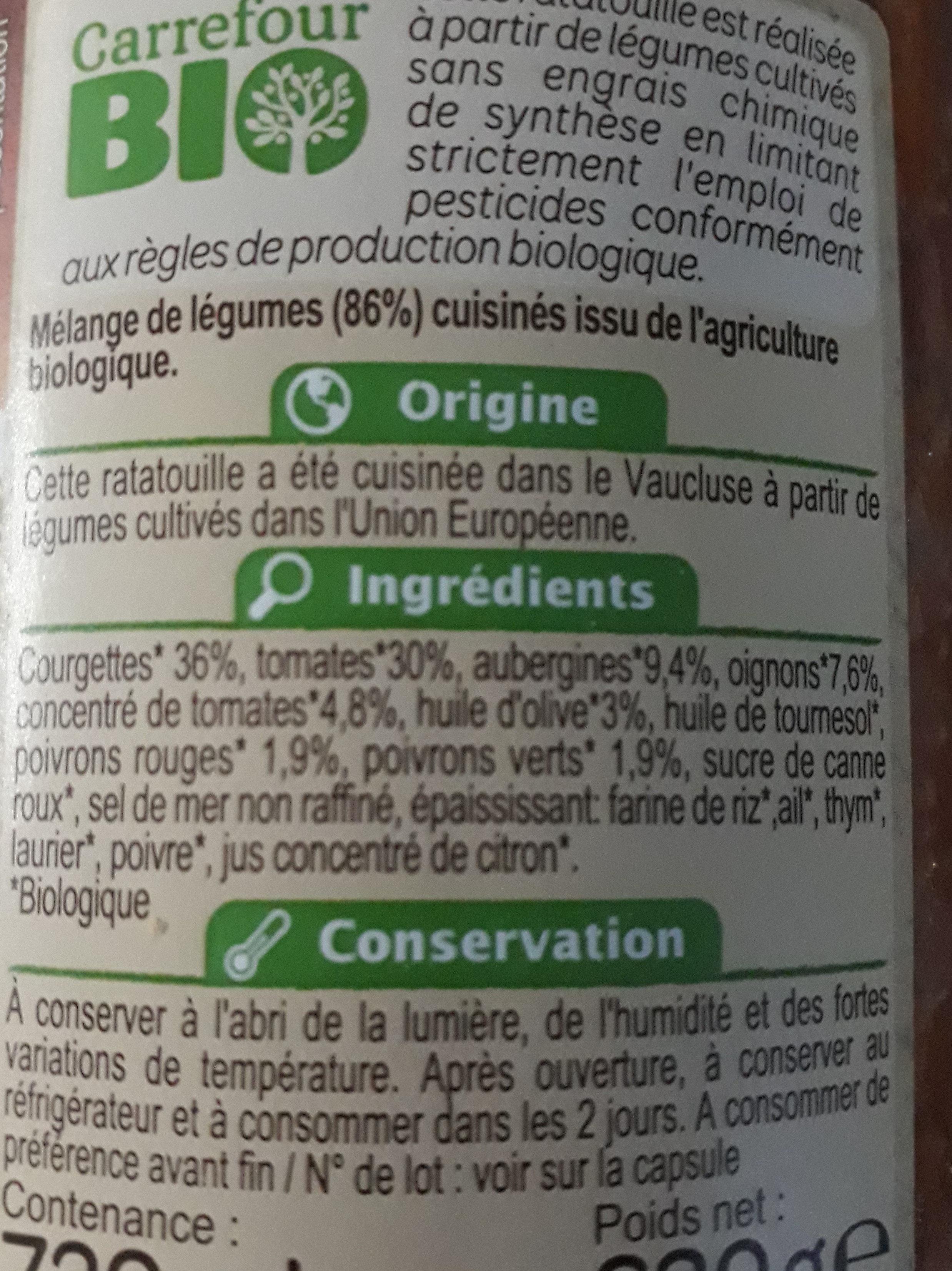 Ratatouille à la provençale - Ingredienti - fr