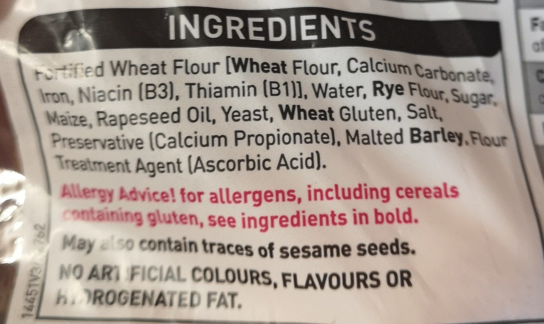 Asda bagels - Ingredients - en
