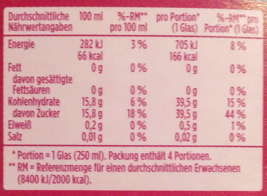 Traube - Informations nutritionnelles - de