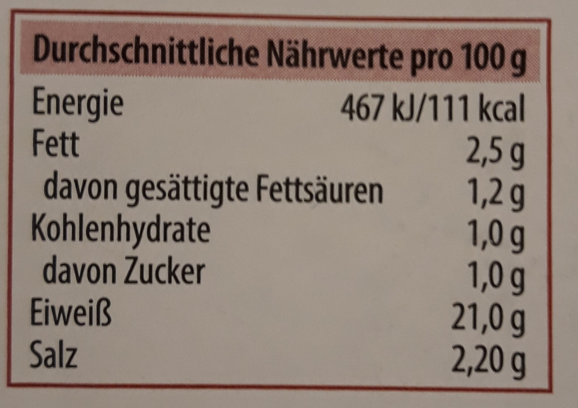 100% Rind Deutsches Corned Beef - Nutrition facts