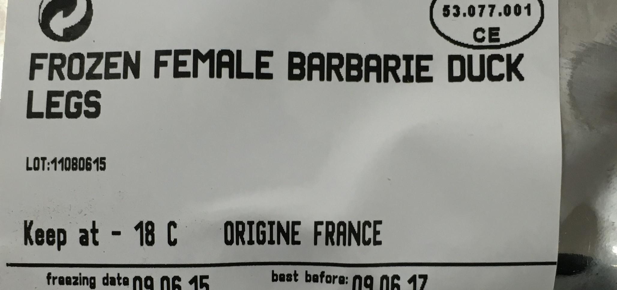 Canard de Barbarie - Ingrédients - fr