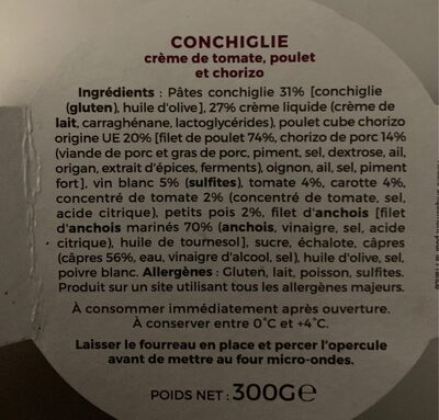 Conchiglie creme de tomate, poulet et chorizo - Ingredients