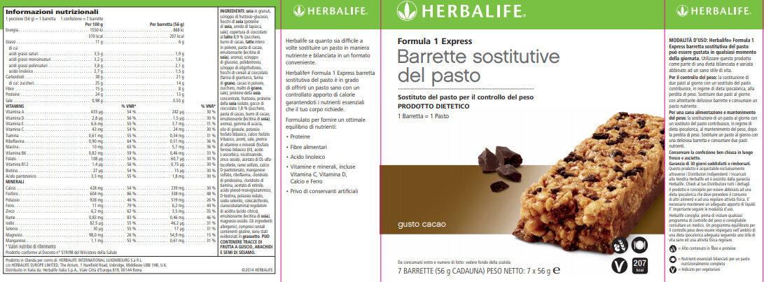 BARRETTA SOSTITUTIVO DEL PASTO GR 56 CIOCCOLATO - Product - it