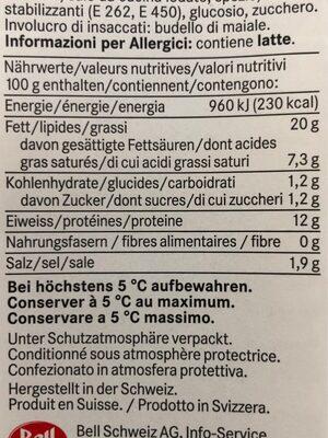 Saucisse St Gall - Informations nutritionnelles - fr