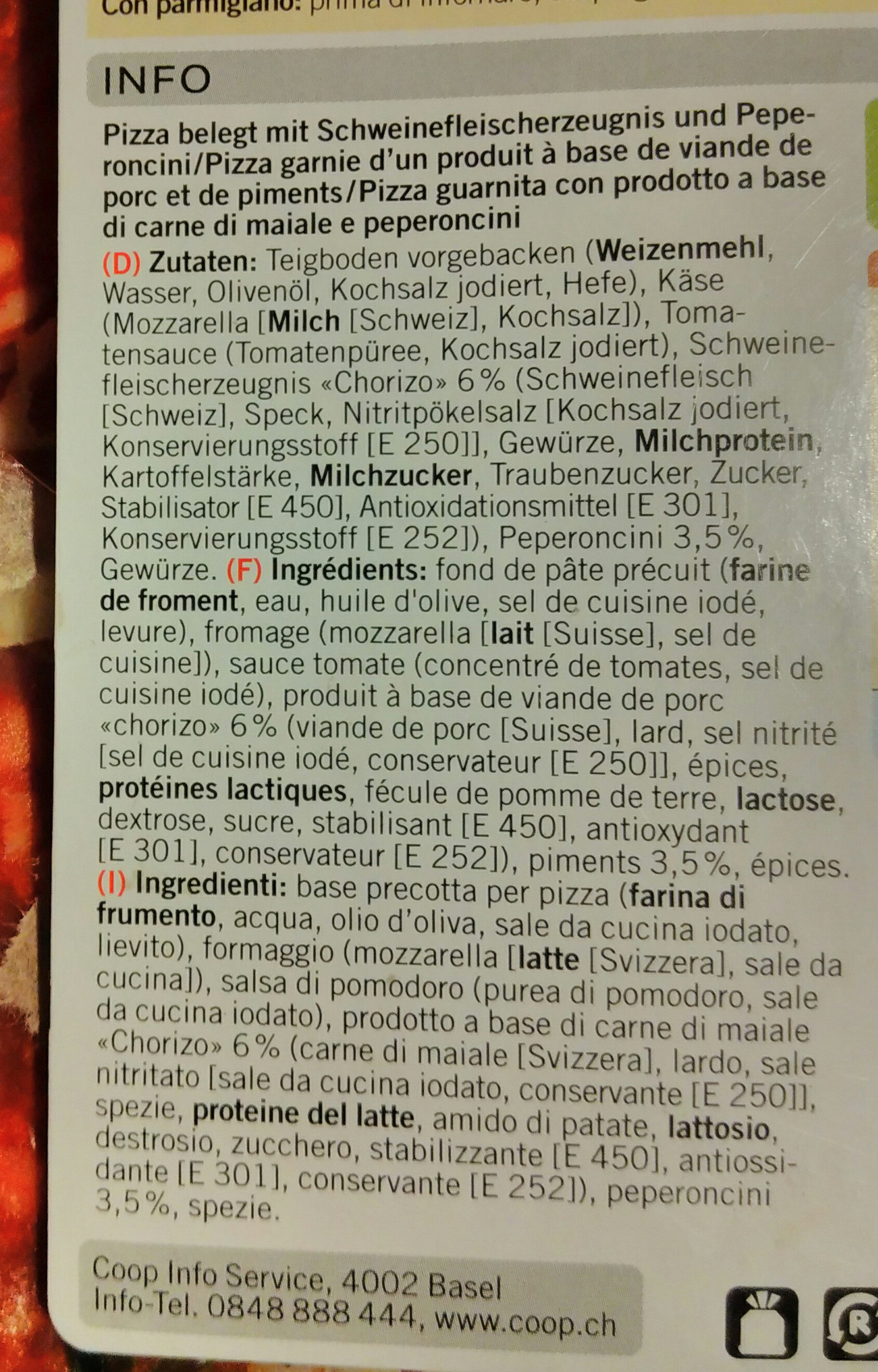 pizza diavola - Ingredients