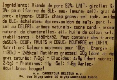 Aub Boudin Blanc Girolles - Informations nutritionnelles