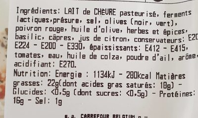 Chèvre tapenade olive - Informations nutritionnelles - fr