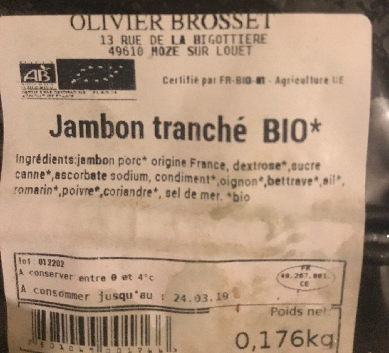 Jambon tranche bio - Ingrédients - fr