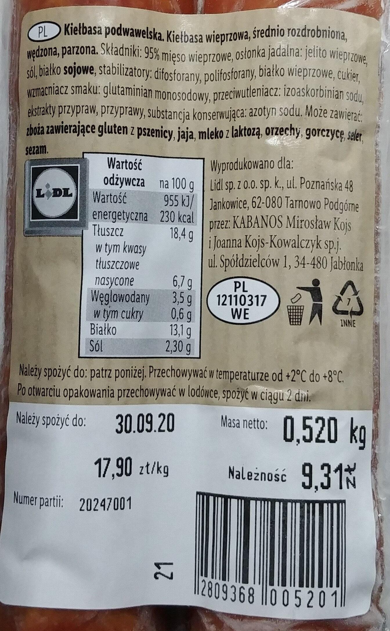 Kiełbasa podwawelska - Product - pl
