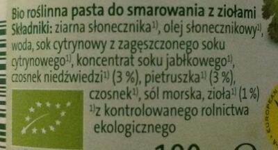 Bio wegańska roślinna pasta do smarowania - Ingrédients - pl