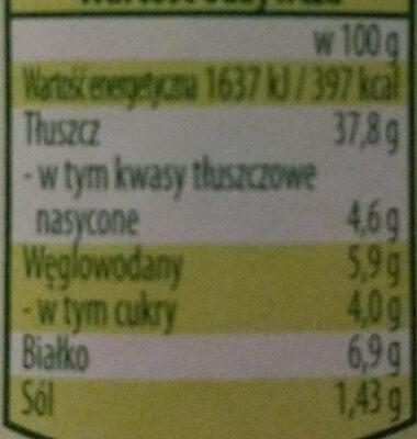 Bio wegańska roślinna pasta do smarowania - Informations nutritionnelles - pl