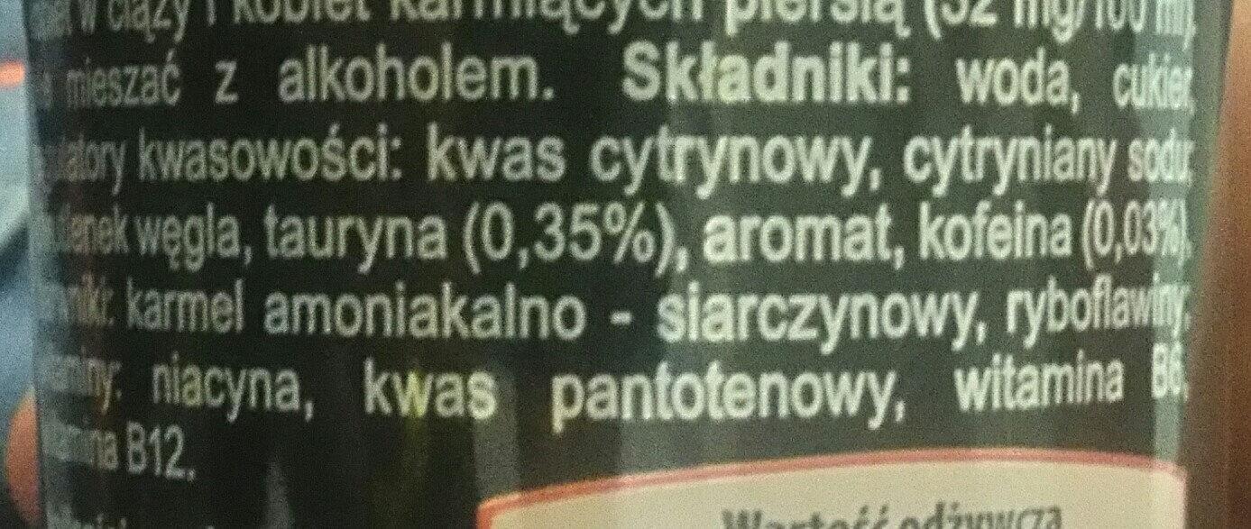 """BOA"" energy drink - Składniki - pl"