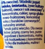 Jogurt kremowy z owocami - Ingredients - pl