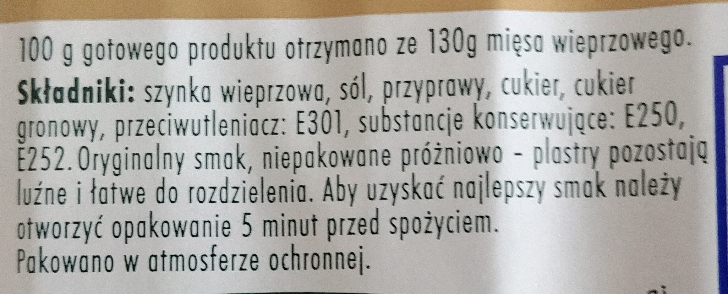 Szynka szwarcwaldzka - Składniki