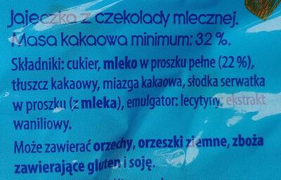 Jajeczka z czekolady mlecznej - Ingredients