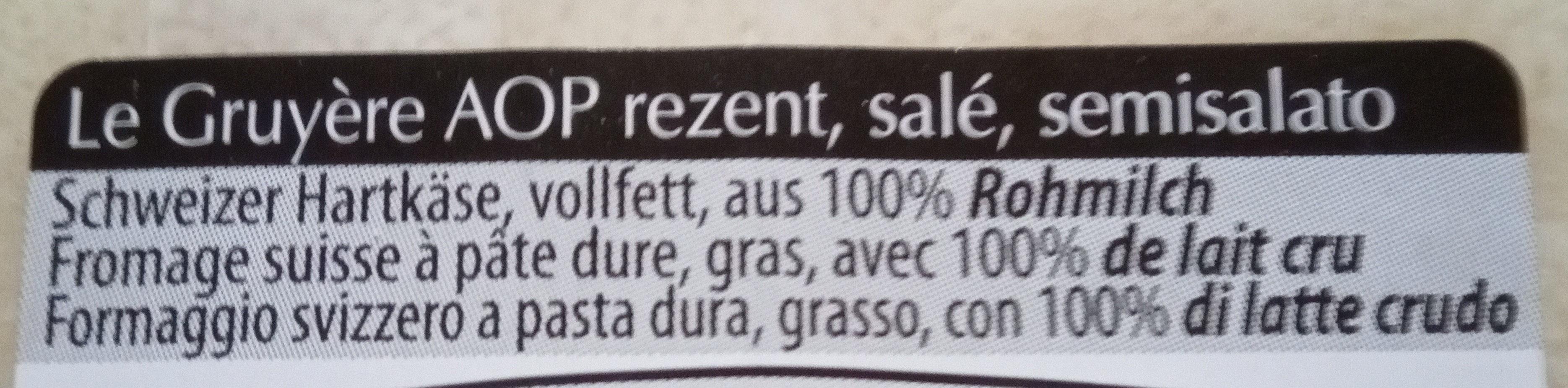 Fomage Gruyère corsé - Ingrediënten - fr
