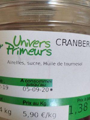 Cranberry seche - Ingrediënten - fr