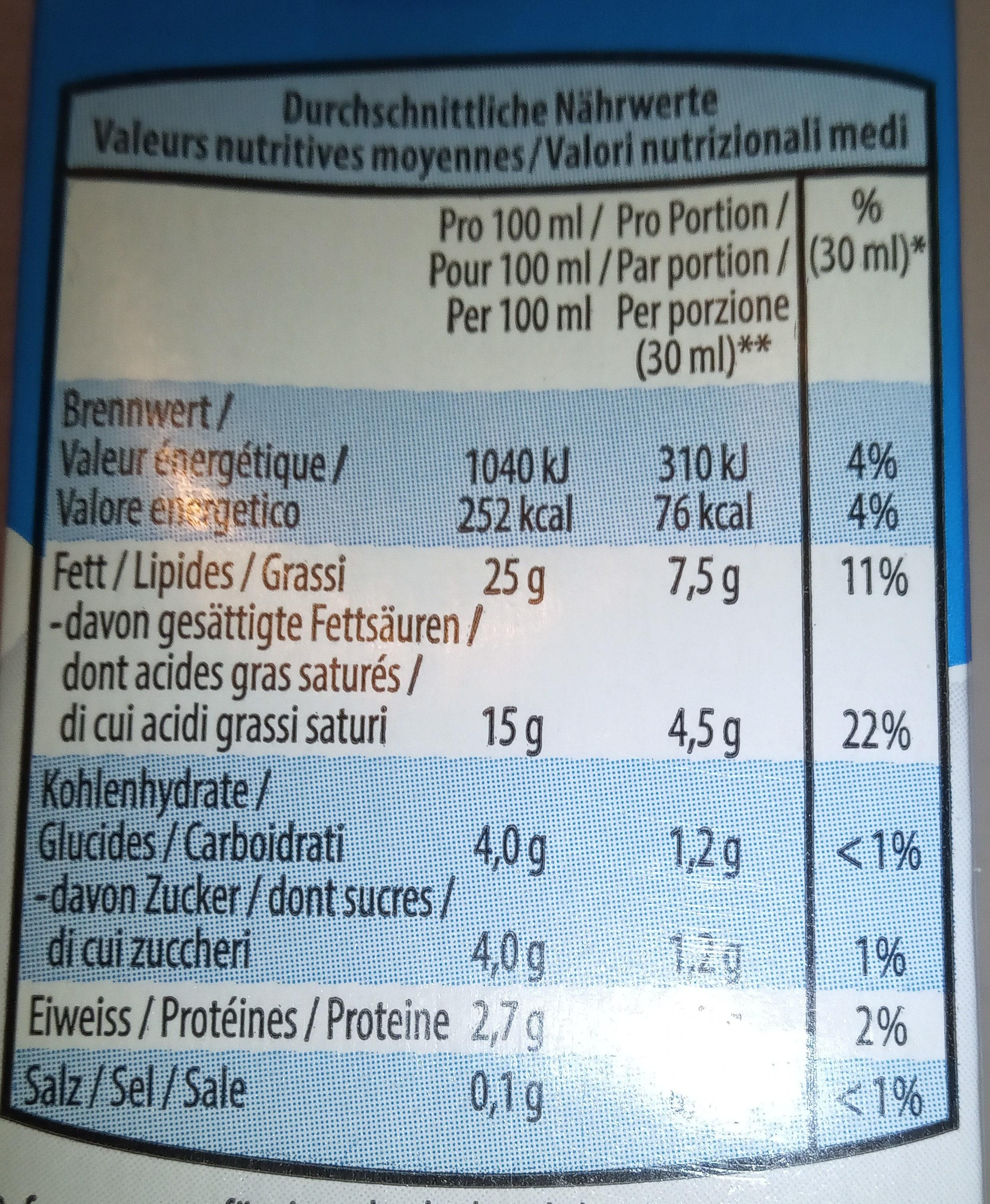 Demi-crème - Ingrediënten - fr