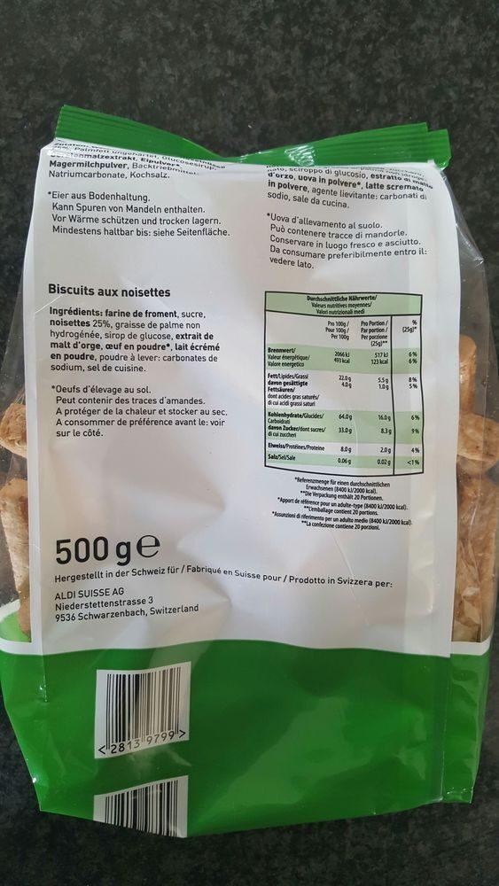 Biscuits aux nooisettes - Informations nutritionnelles