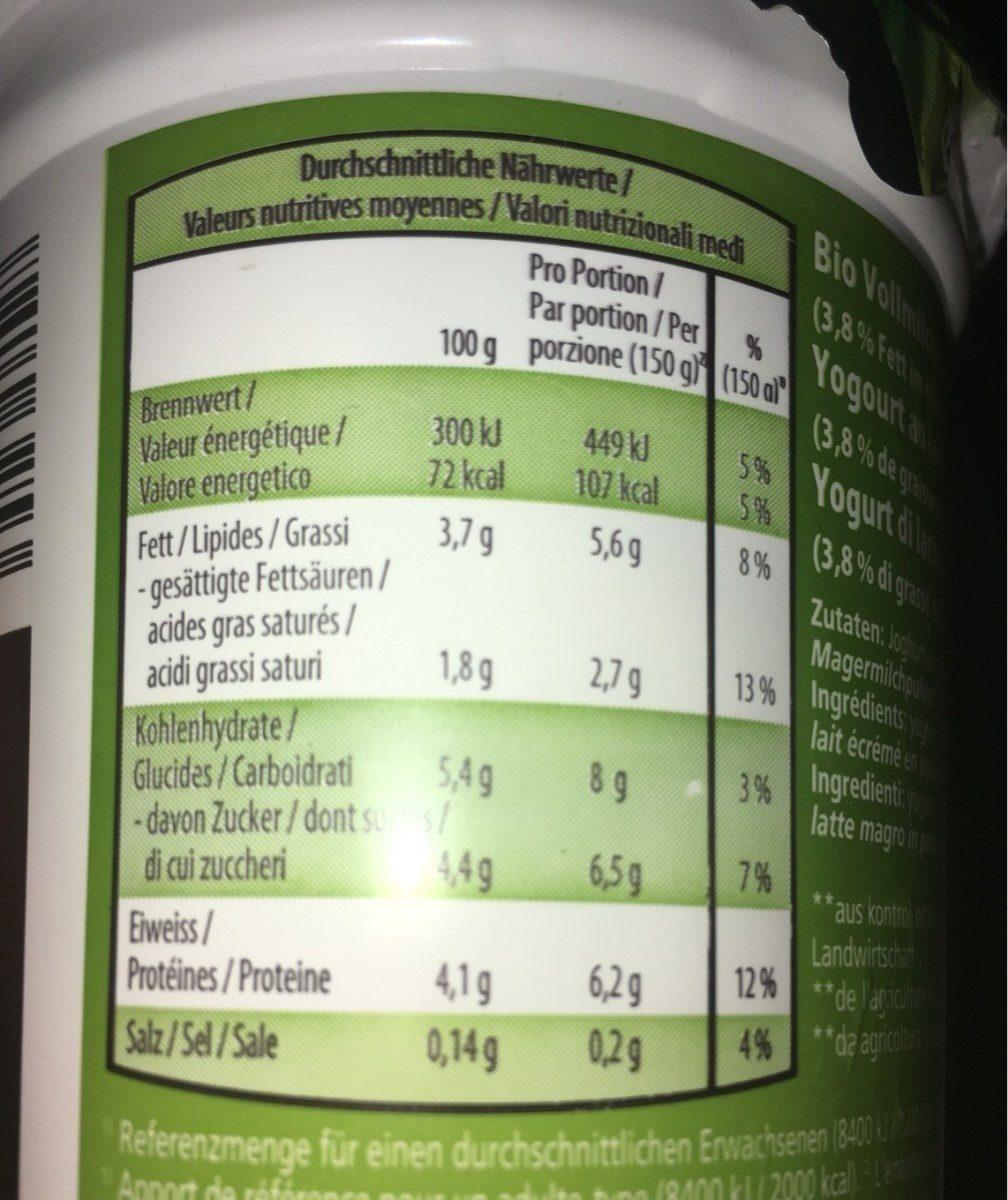 Bio Joghurt Nature, Nature - Ingrédients - fr