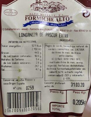 Longaniza de pascua - Product - es