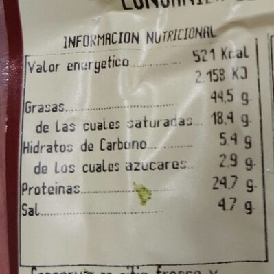 Longaniza de pascua - Nutrition facts - es