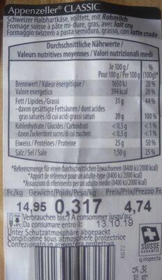 Appenzeller CLASSIC - Ingredients - en
