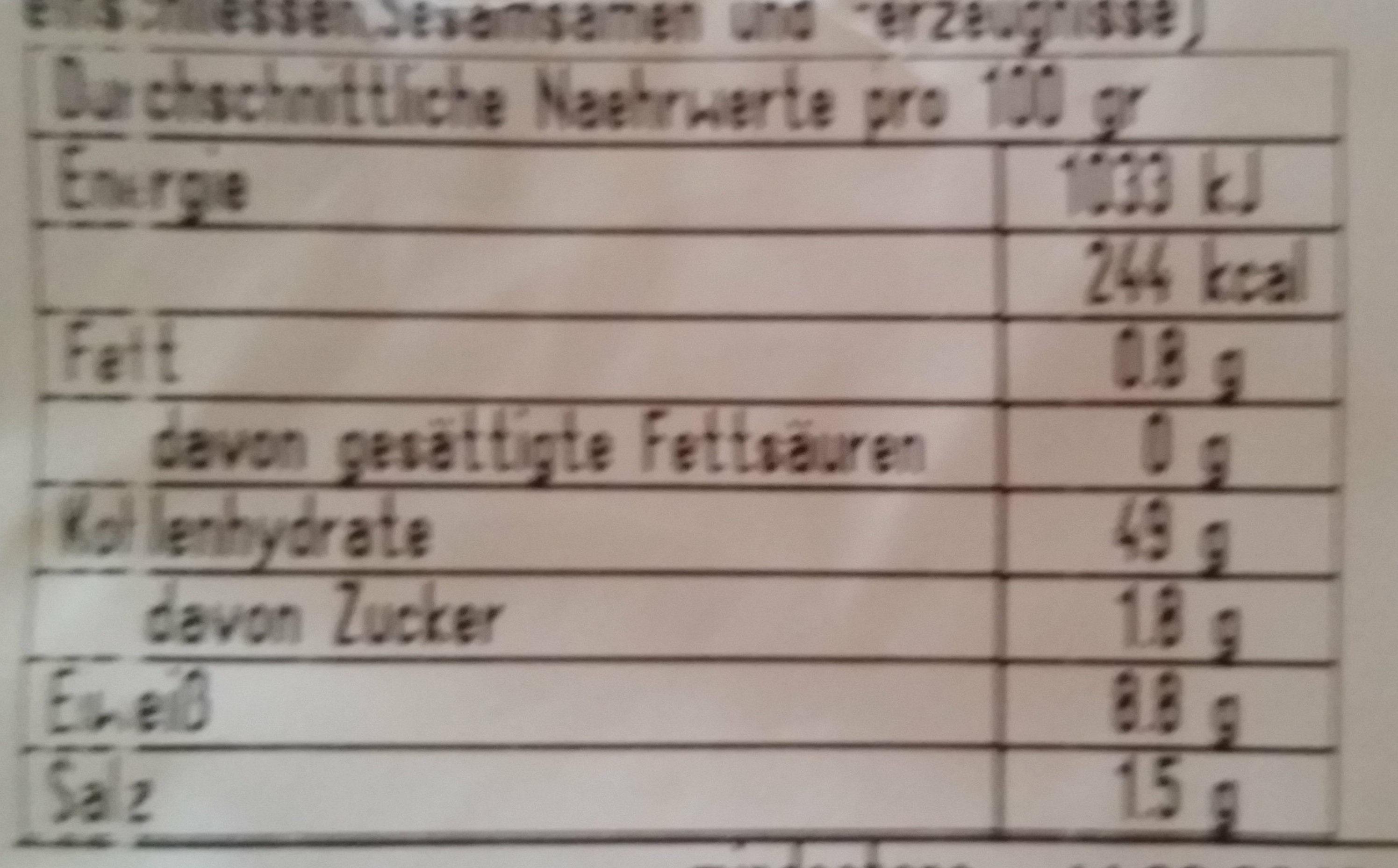 Mini Baguette - Informations nutritionnelles - de