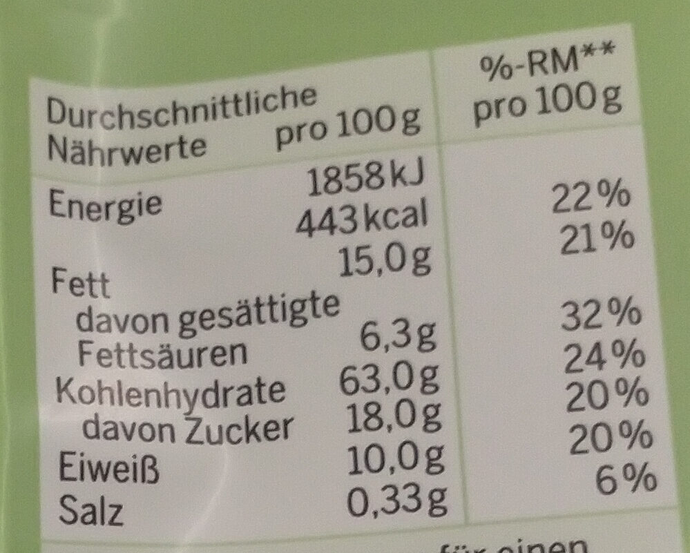 Bio Hafer Schoko Amaranth Crunchy Müsli - Nutrition facts - de