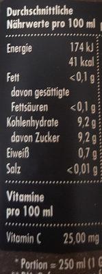 READY DIREKT-SAFT ORANGE - Nährwertangaben