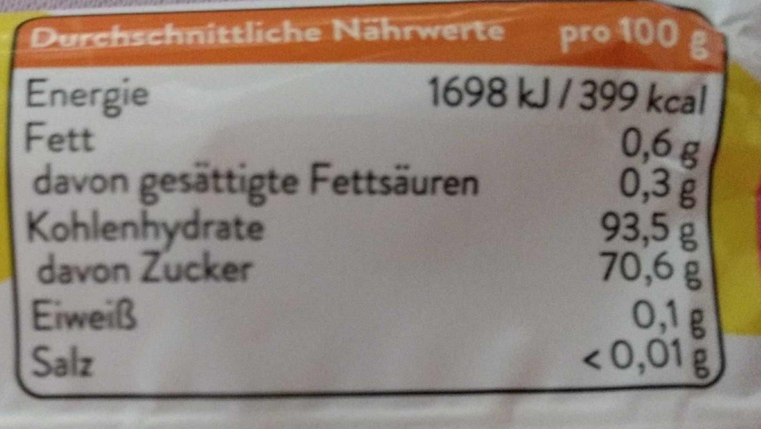 fresh:air fruit flavor - Nährwertangaben