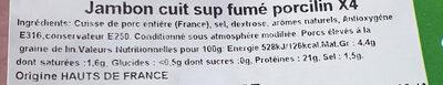 jambon cuit sup fumé porcilin - Ingrédients - fr