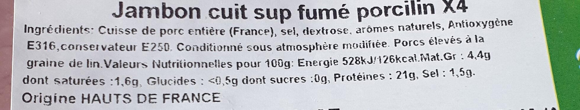 jambon cuit sup fumé porcilin - Ingrédients