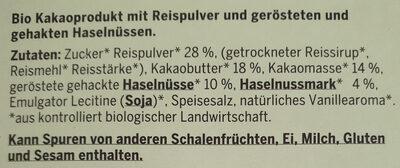 BIO VEGANE HELLE mit Haselnüssen - Ingredients - de