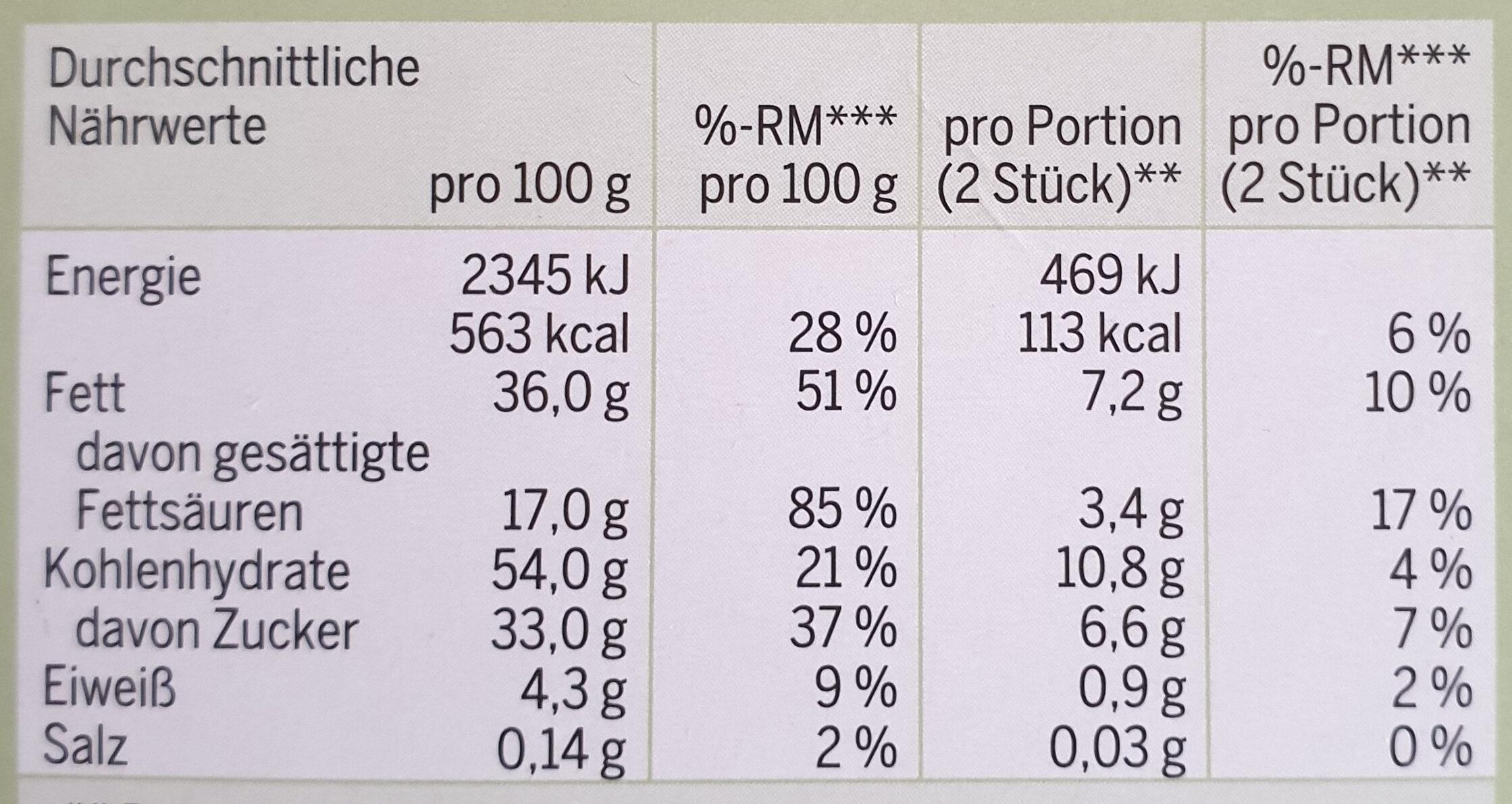 BIO VEGANE HELLE mit Haselnüssen - Nutrition facts - de