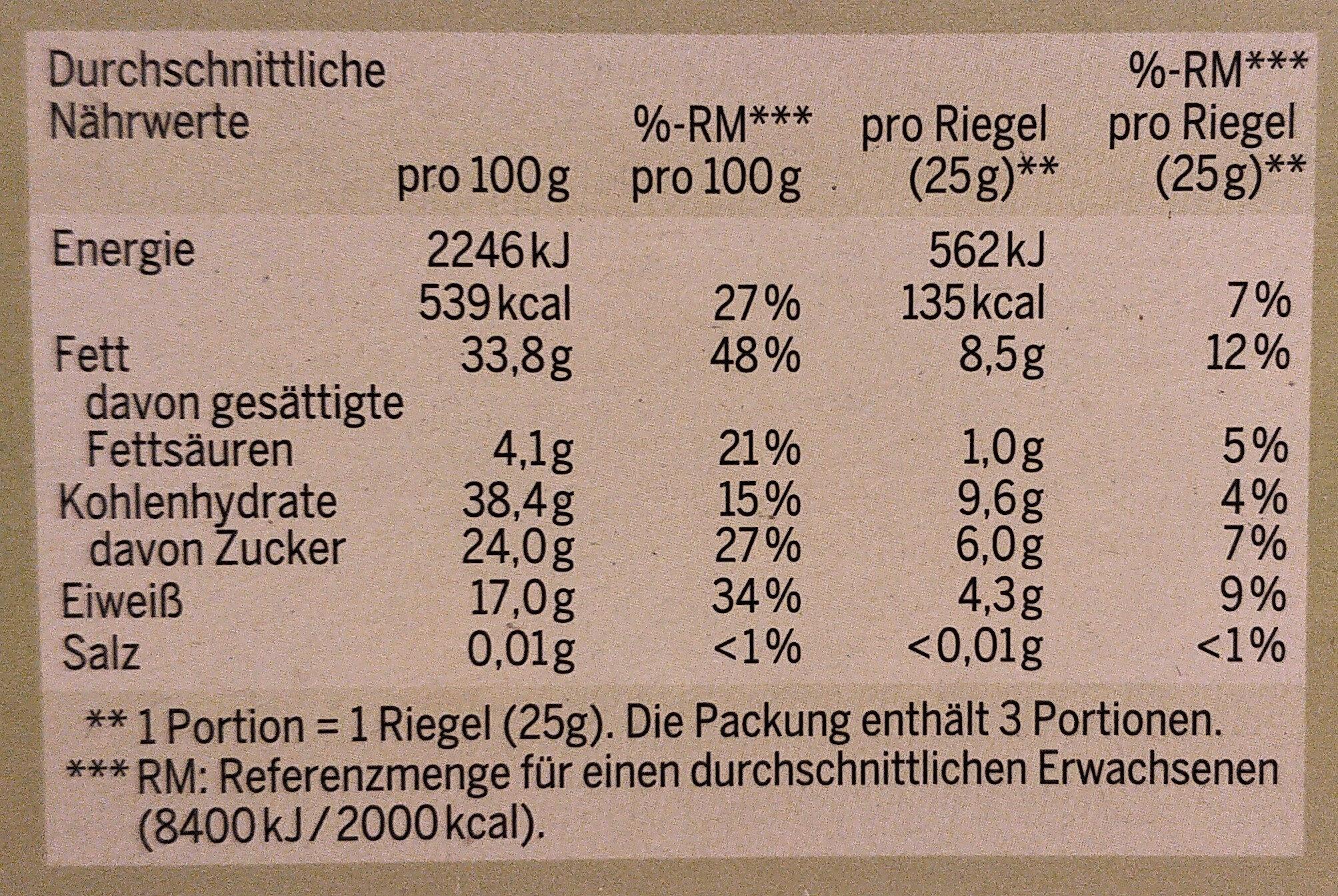 Bio Krokantriegel Nußmix-Zimt - Informations nutritionnelles