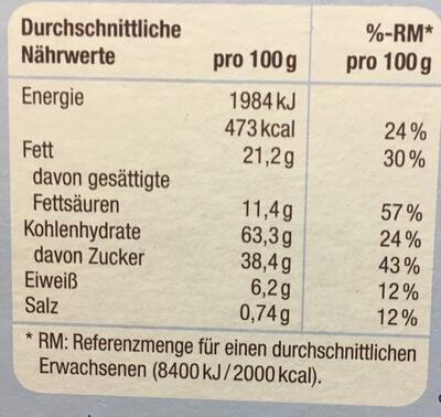 Schoko keks-sticks - Voedingswaarden - de