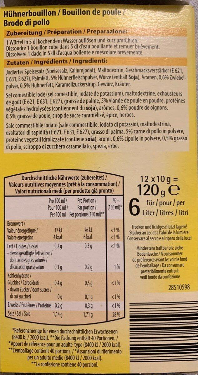 Bouillon Poule - Valori nutrizionali - fr