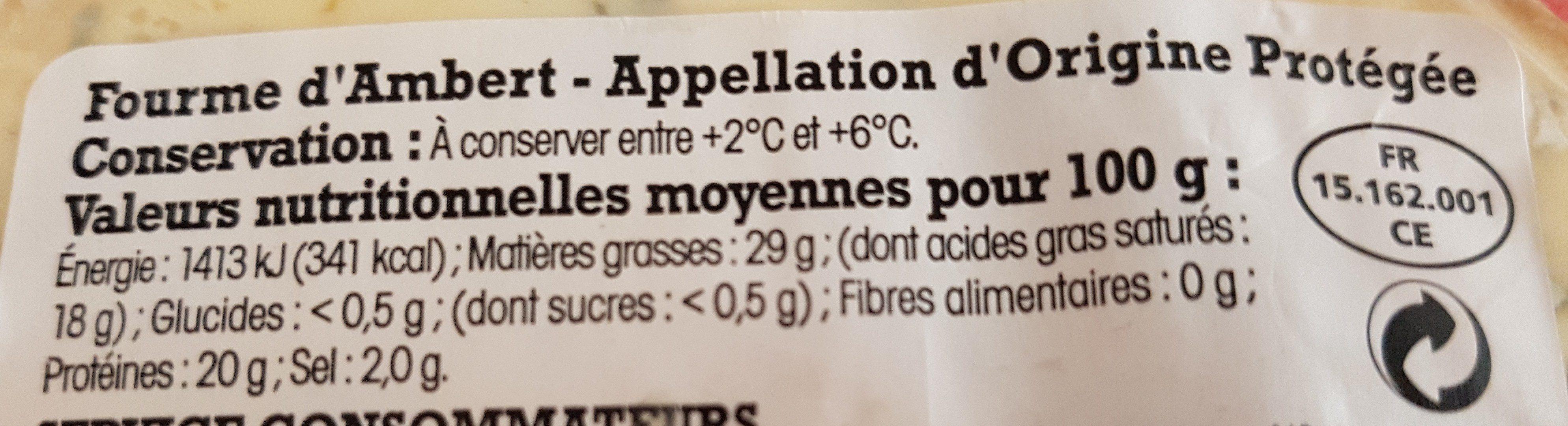 Fourme d'Ambert- Appellation d'Origine Protégée - Ingrediënten
