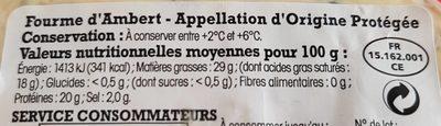 Fourme d'Ambert- Appellation d'Origine Protégée - Voedigswaarden