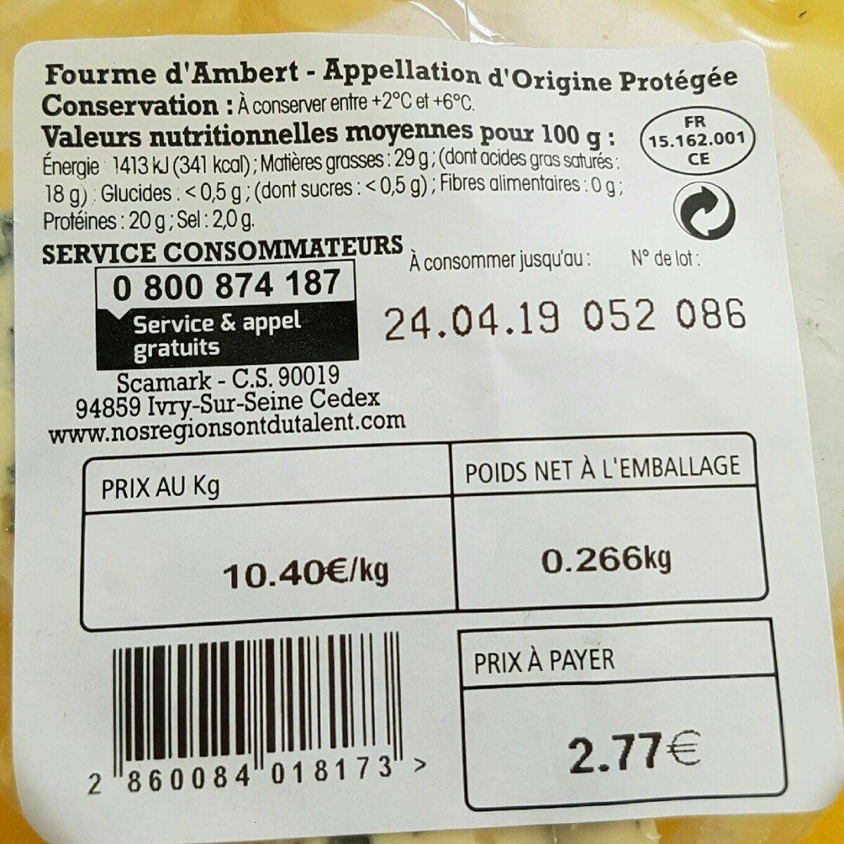 Fourme d'Ambert - Ingrédients - fr