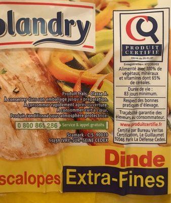 Escalopes de dinde extra fines - Ingredienti - fr