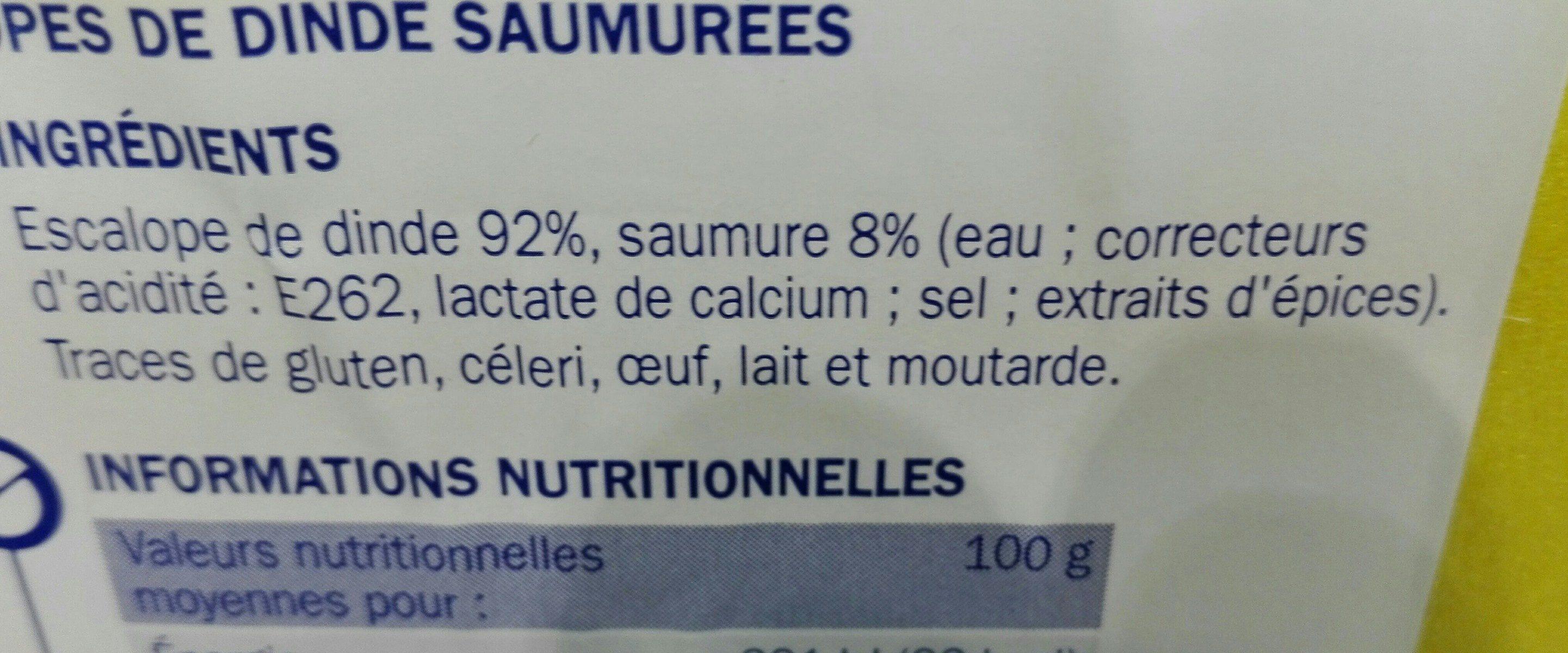 Escalopes de dinde - Ingrédients - fr