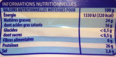 Mimolette Jeune au lait pasteurisé - Nutrition facts