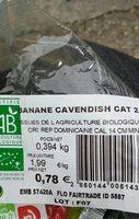 Banane cavendish - Ingrédients - fr