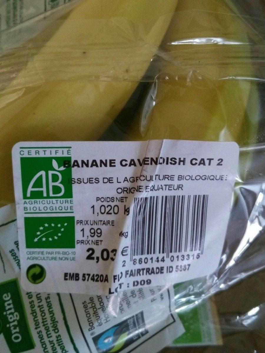 Bananes cavendish Bio - Ingrédients - fr