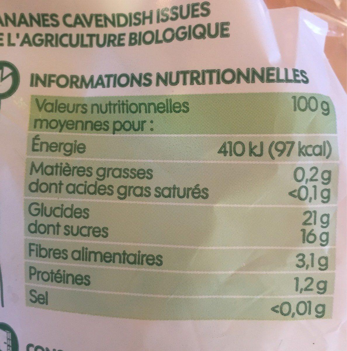 Bananes - Voedingswaarden - fr