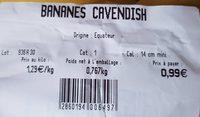 Bananes Cavendish - Ingrediënten - fr